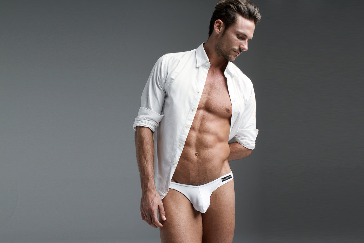 Lifestyle editorial image of the Cocksox CX01 Underwear brief in White