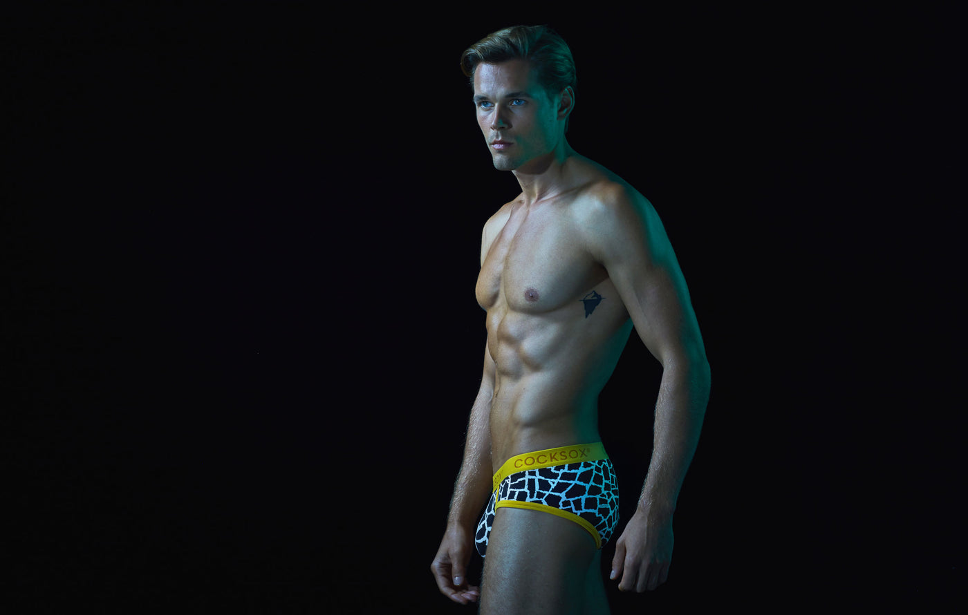 fbb4ff8119 Cocksox Lifestyle image of the CX76WD Underwear Sports Brief in Giraffe