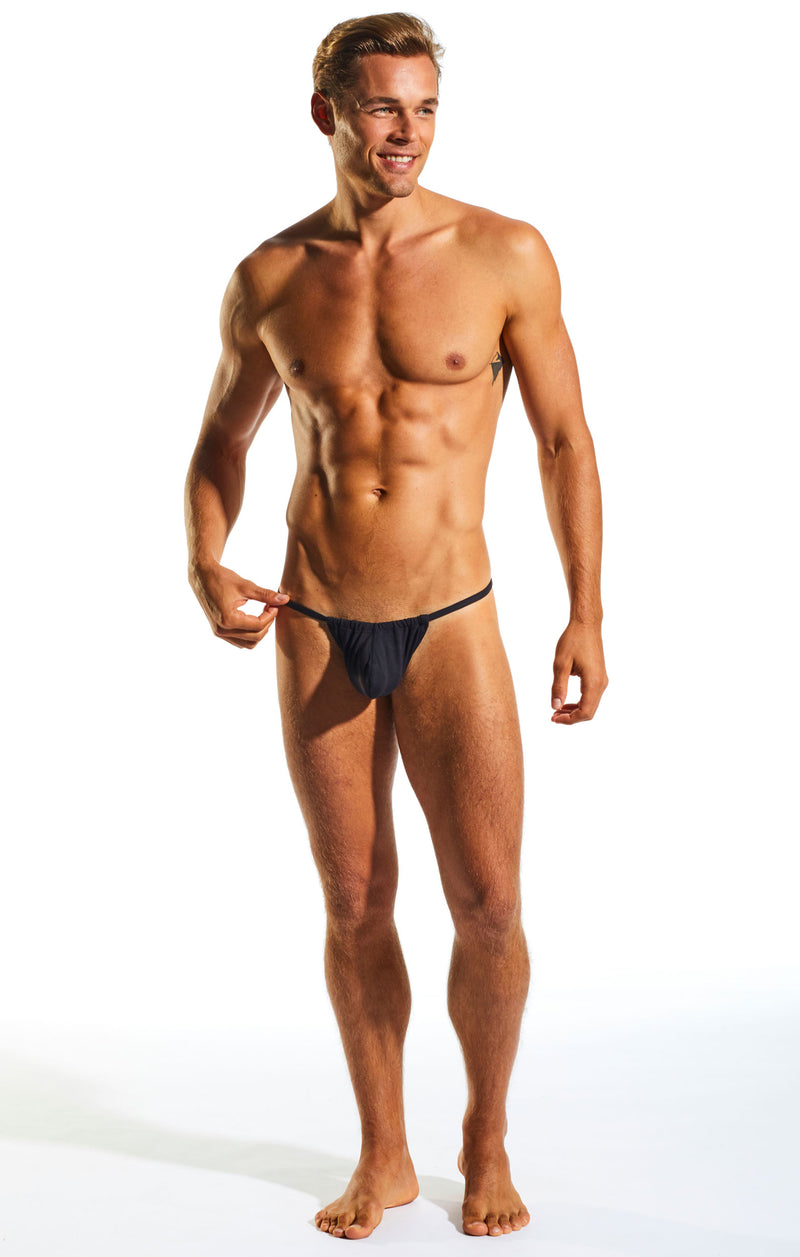Cocksox CX14 Underwear Slingshot in Jet Black full body image