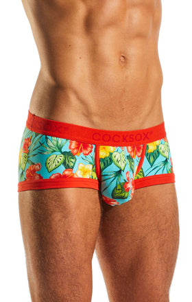 Cocksox CX68CR Underwear Trunk in Hibiscus Cruise side body image
