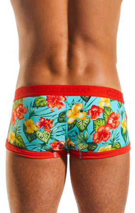 Cocksox CX68CR Underwear Trunk in Hibiscus Cruise back body image