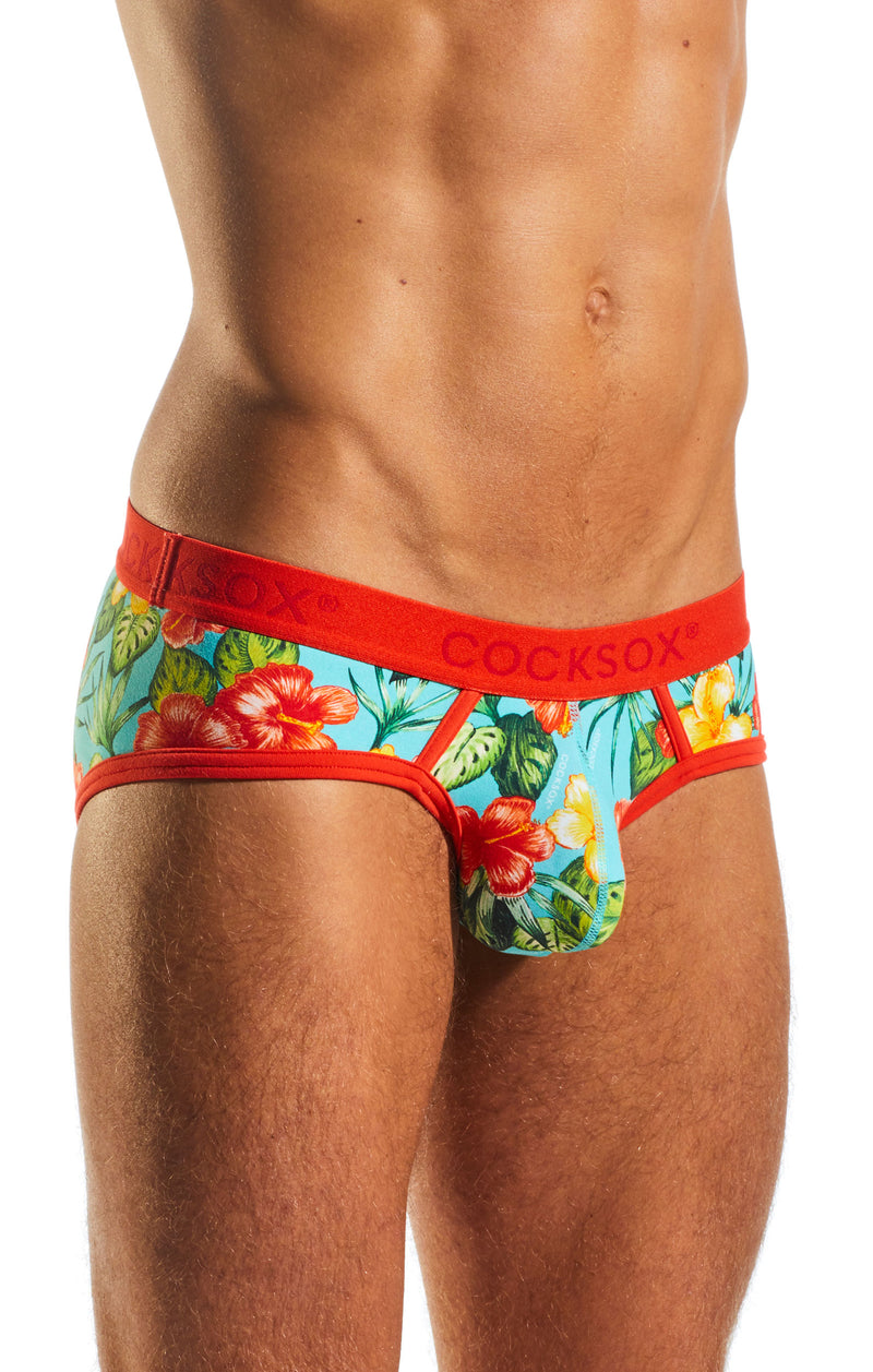 Cocksox CX76CR Underwear Sports Brief in Hibiscus Cruise side body image