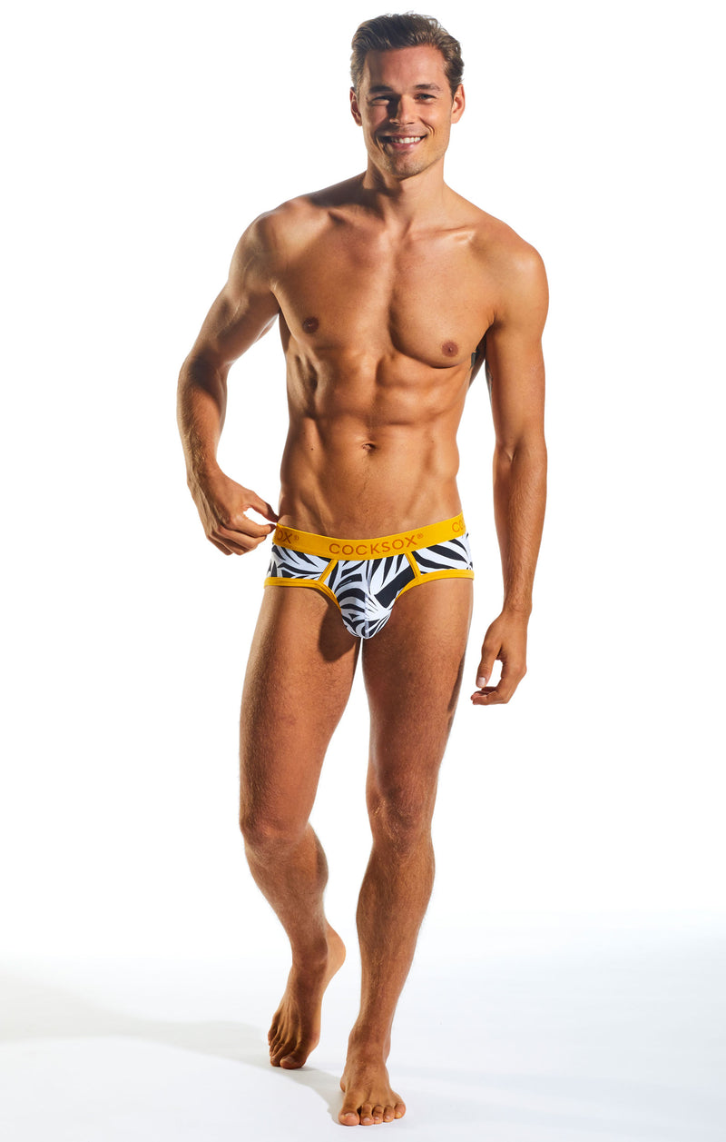 Cocksox CX76WD Underwear Sports Brief in Zebra full body image