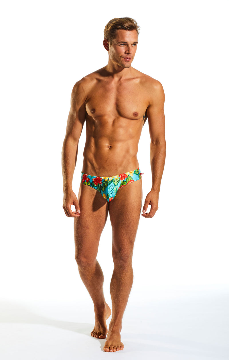 Cocksox CX04PR Drawstring Swim Brief in Hibiscus Cruise full body image