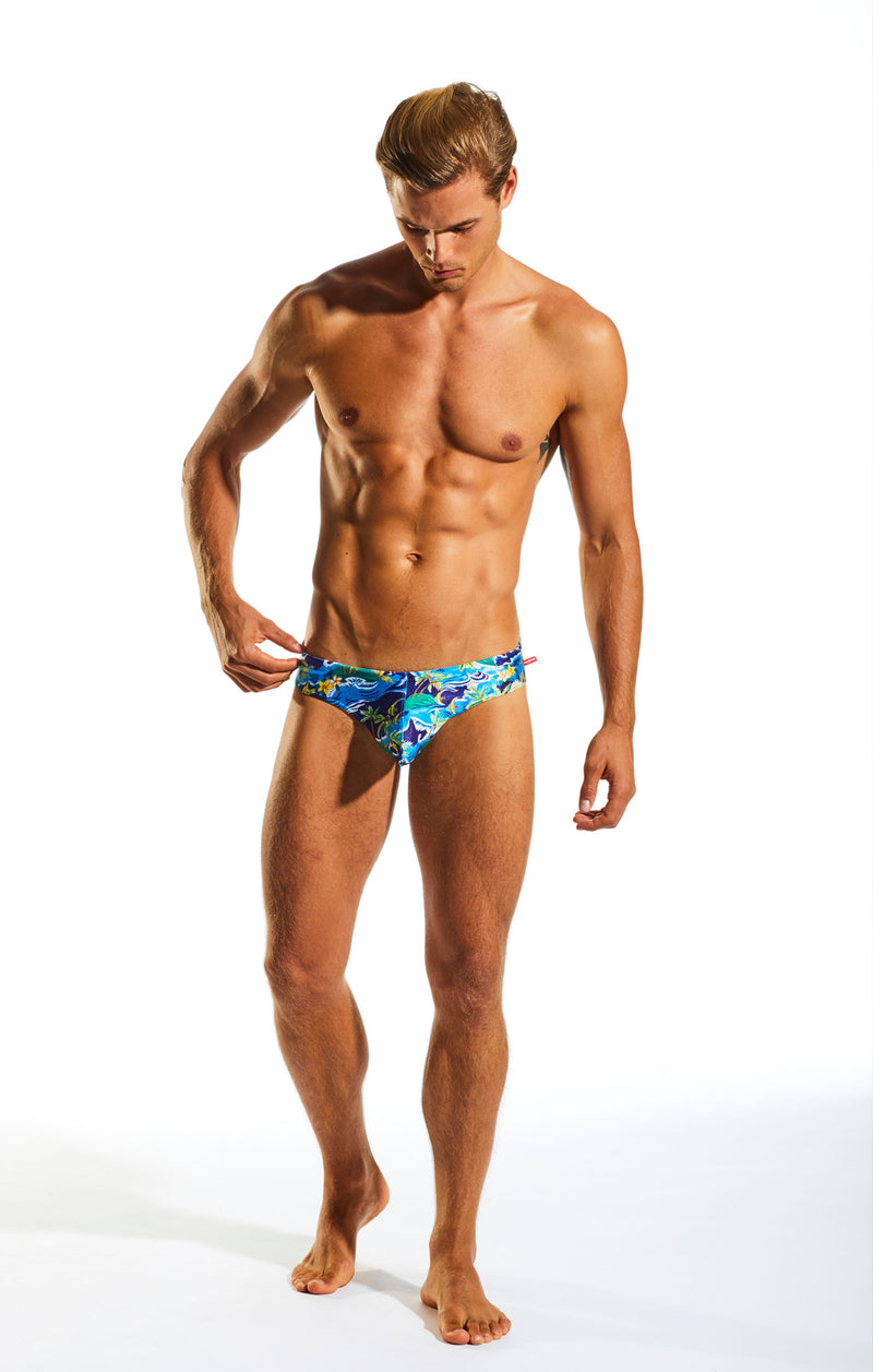 Cocksox CX04PR Drawstring Swim Brief in Paradise Palms full body image