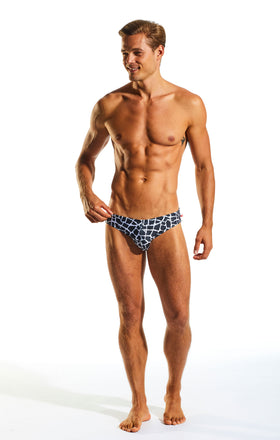 Cocksox CX06PR Drawstring Swim Brief in Giraffe print full body image
