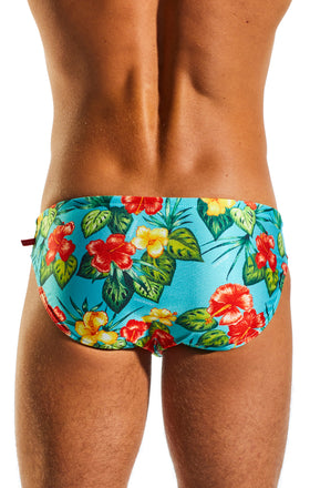 Cocksox CX06PR Drawstring Swim Brief in Hibiscus Cruise print back body image