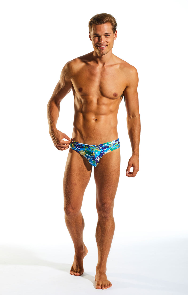 Cocksox CX06PR Drawstring Swim Brief in Paradise Palms print full body image