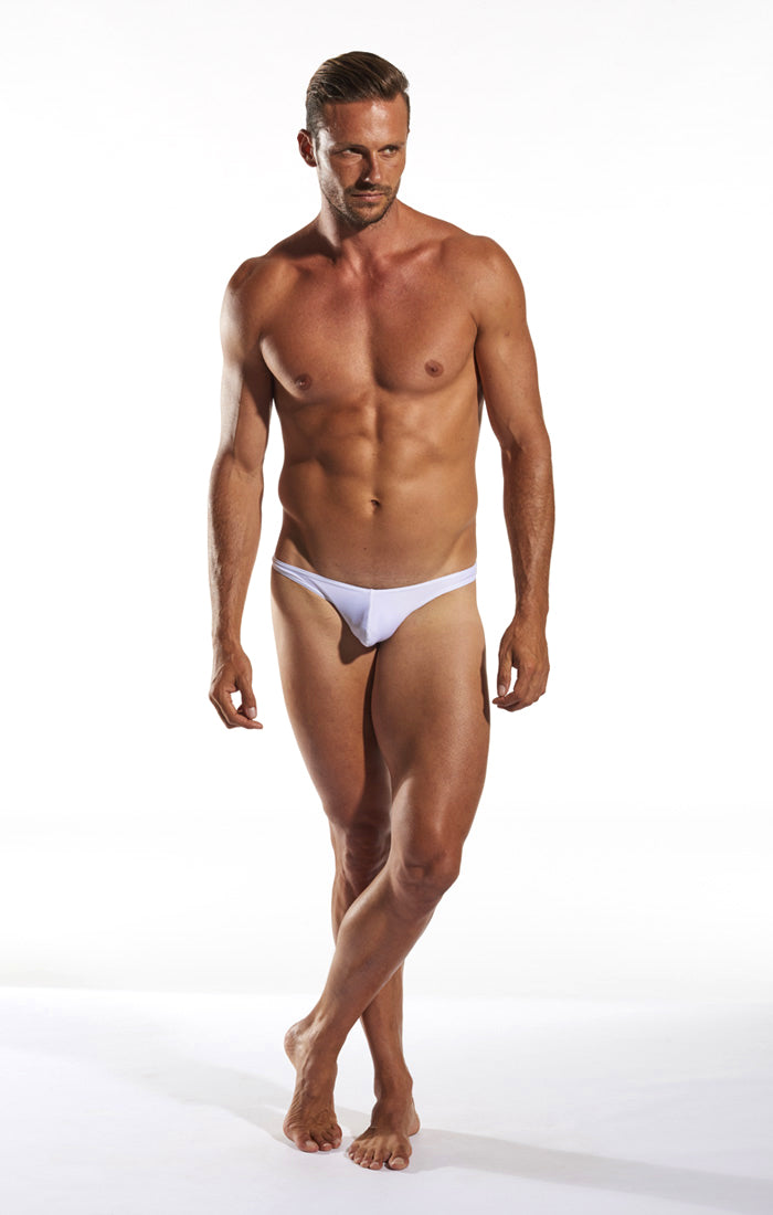 Cocksox CX22 Swimwear Thong in White Pointer full body image