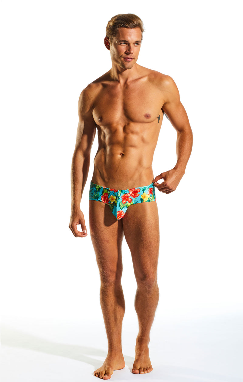 Cocksox CX79PR Boy Leg Swim Brief in Hibiscus Cruise print full body image