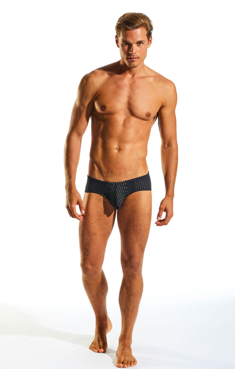 Cocksox CX79SB Boy Leg Swim Brief in Jet Black full body image