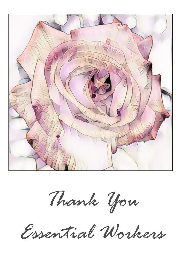 Thank You Essential Workers Digital Art Greeting Card