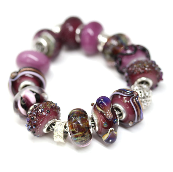 Stripes - Berry purple collection - European bracelet bead