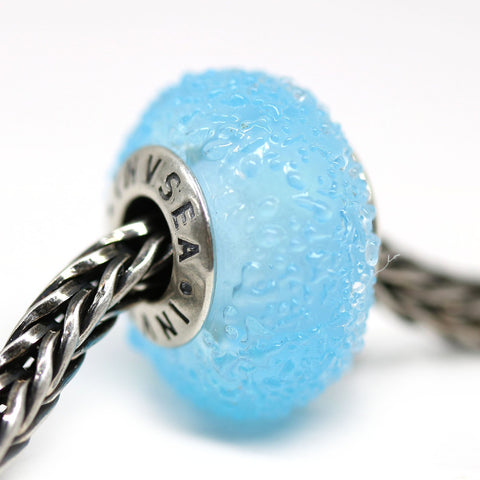 Silver cored blue glass European bracelet Murano beads for Pandora Troll