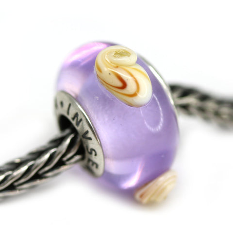 Seashell beach light purple of European bracelet beads for Pandora Troll
