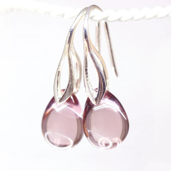 Pale amethyst purple drop czech glass earrings
