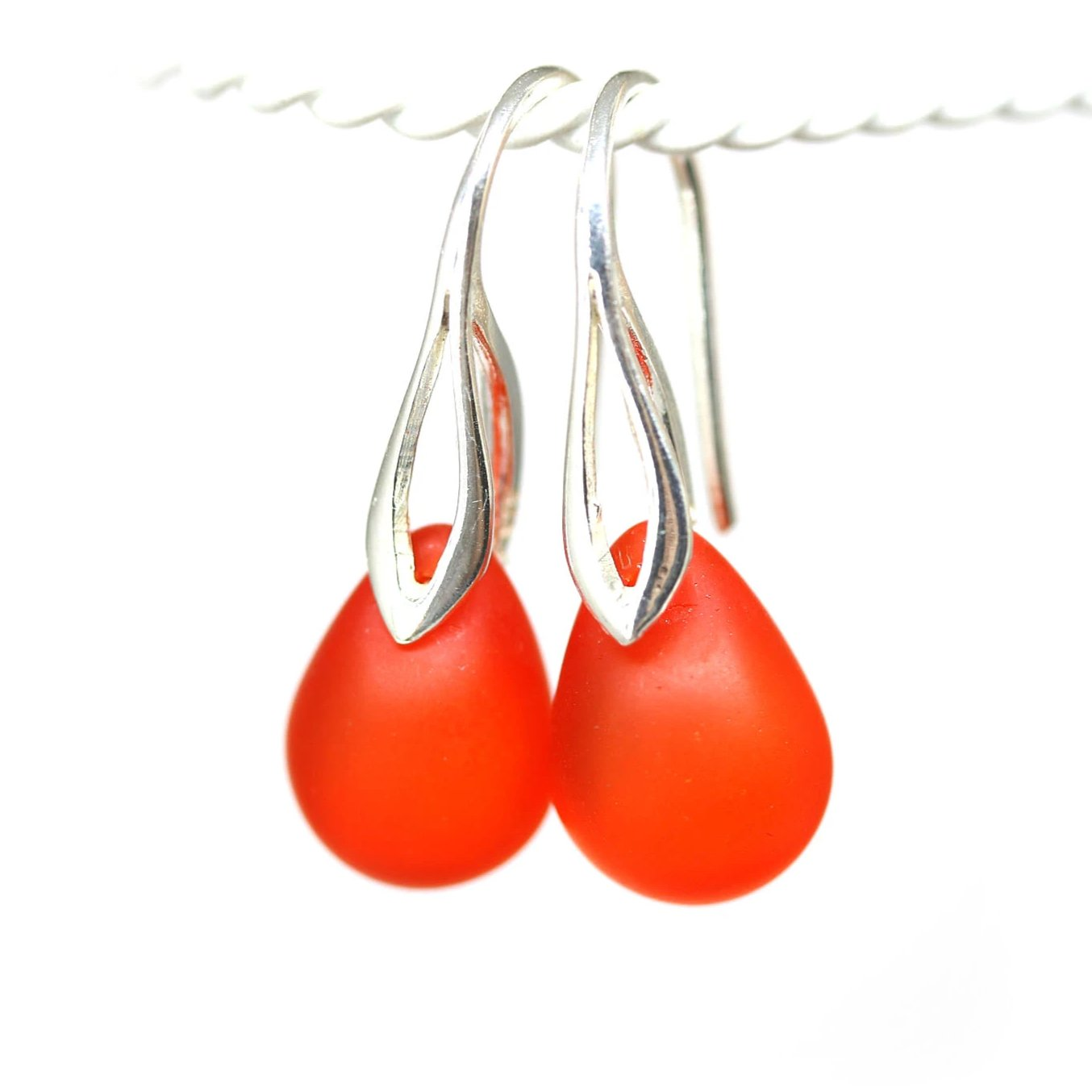 Frosted red orange drop glass sterling silver earrings  for women