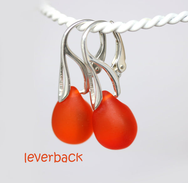Frosted red orange drop glass lever back earrings for women