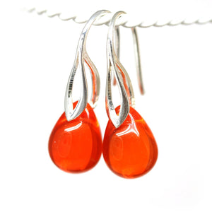 Red orange tear drop glass earrings for women