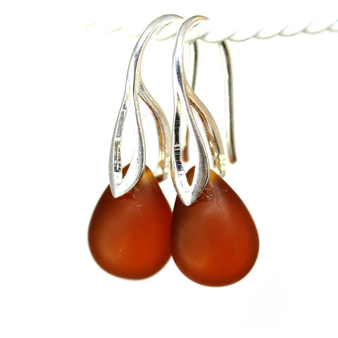 Frosted brown topaz drop glass earrings Seaglass jewelry