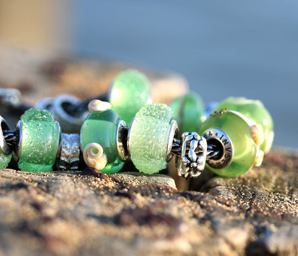 Silver cored Seaweed green European bracelet charm beads for Pandora Troll