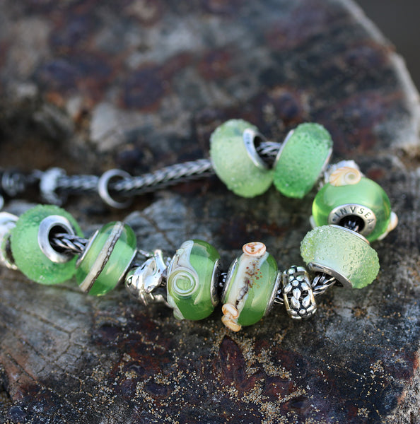 Silver core Green beach European bracelet charm beads for Pandora Troll INVSea