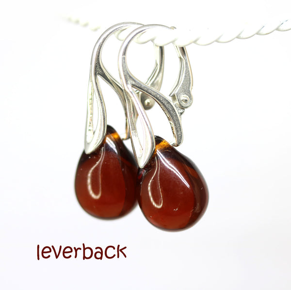 Dark brown topaz drop glass earrings