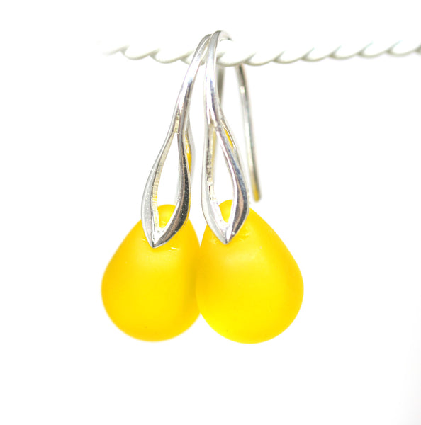 Frosted yellow drop glass pendant on sterling silver chain