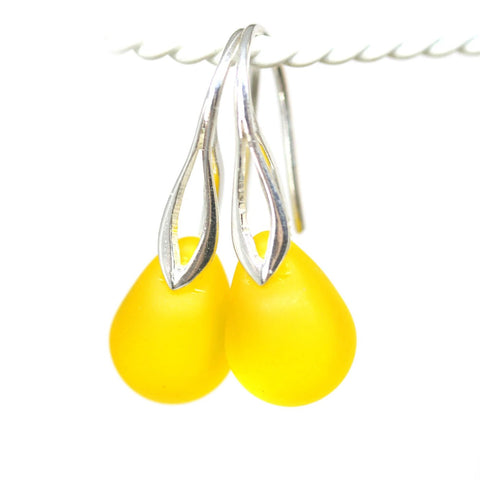 Frosted bright sunny yellow drop glass earrings for women