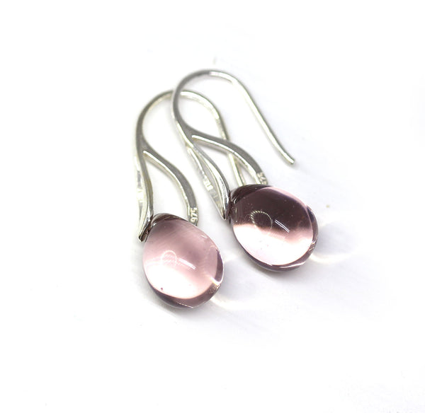 Pale amethyst purple drop glass earrings