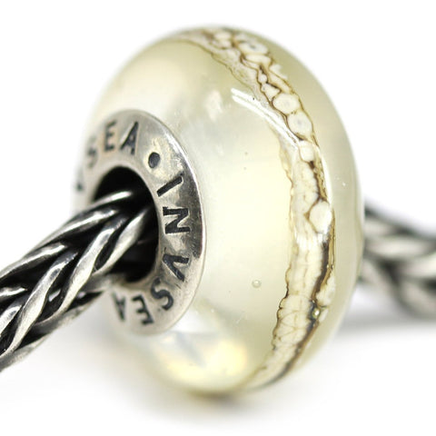 Silver core pandora style neutral light handmade lampwork large hole bracelet bead charm