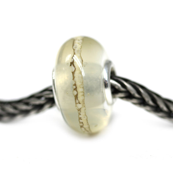 Pandora style neutral light handmade lampwork large hole bracelet bead charm