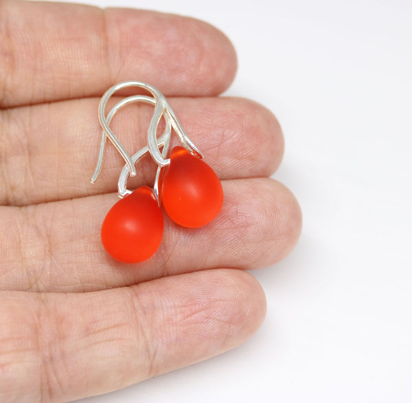 Frosted red orange drop glass earrings