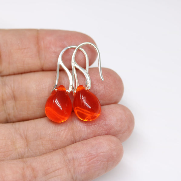 Red orange drop glass earrings
