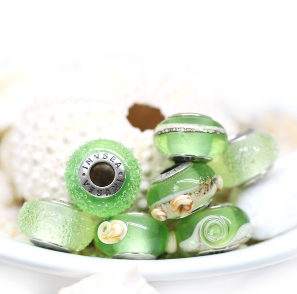 Green beach European bracelet charm beads for Pandora Troll