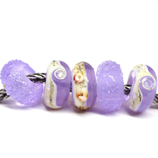 5pc Opal beach Lilac European bracelet beads no eyelets