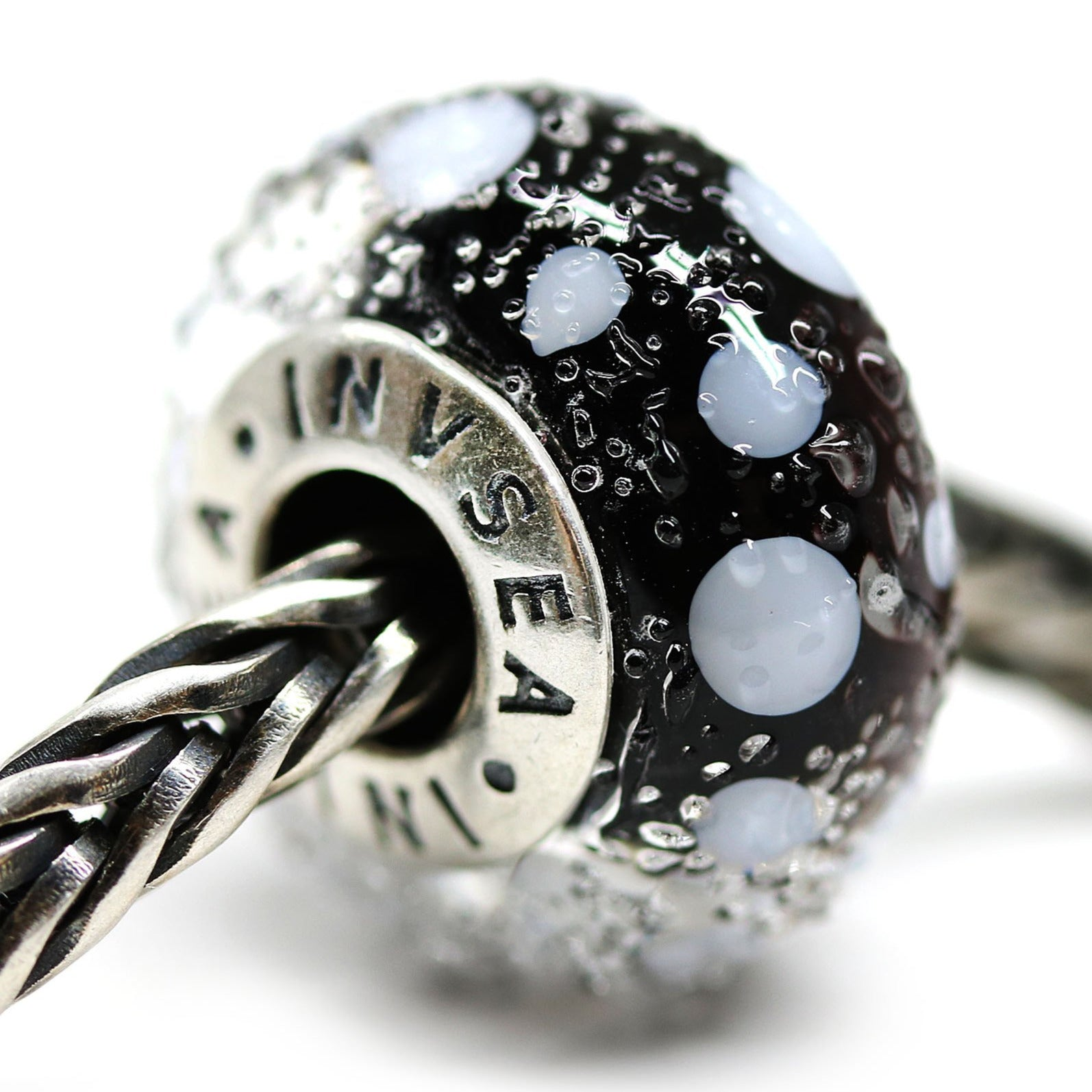 Pandora style charms black and white Artisan lampwork large hole beads