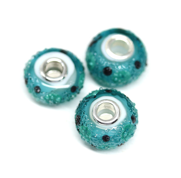 Dots on teal green European bracelet charm bead sugar coating INVSea