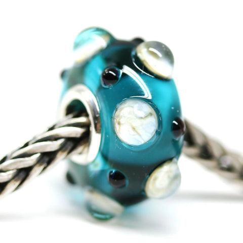 Handmade lampwork teal European style bead for Troll Pandora style