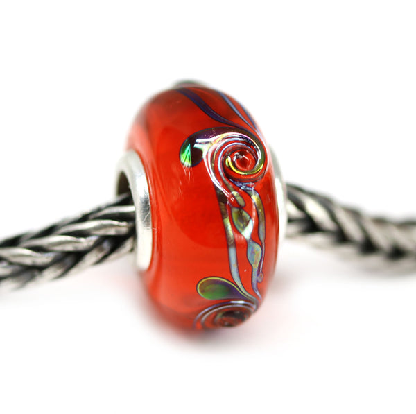 Silver cored orange European bracelet beads for Pandora Murano glass