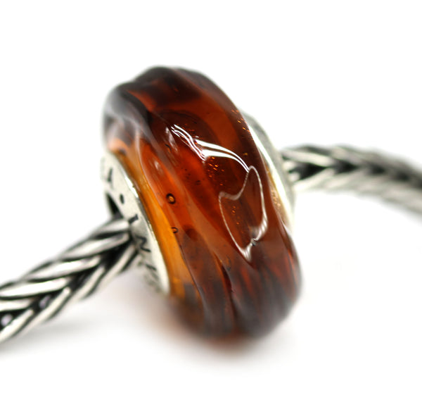 Silver cored fall colors European bracelet charm beads for Pandora Murano glass