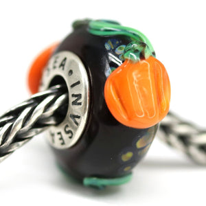Pumpkin European bracelet charm beads for Pandora Murano glass