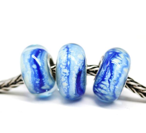 Bright blue handmade lampwork glass European bracelet bead INVSea