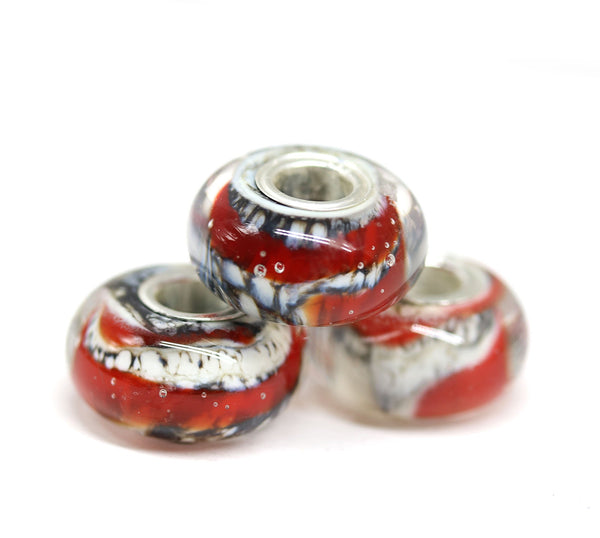 Red black handmade lampwork glass European bracelet bead INVSea