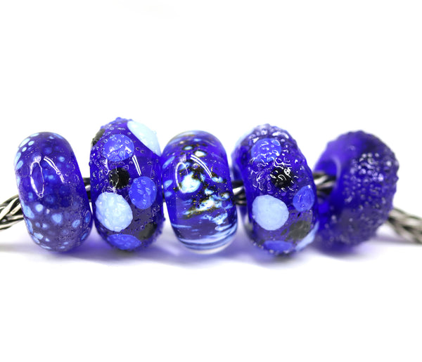 5pc Dark blue glass European bracelet beads no eyelets