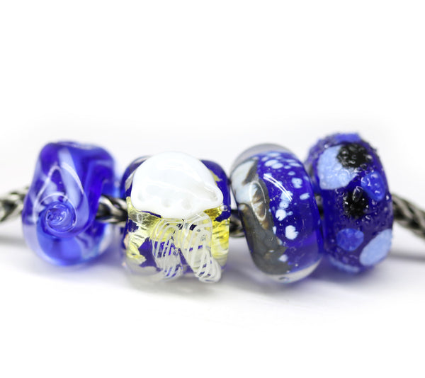 4pc Dark blue jellyfish glass European bracelet beads no eyelets