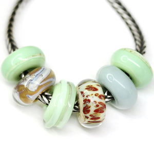6pc Early spring glass European bracelet beads no eyelets