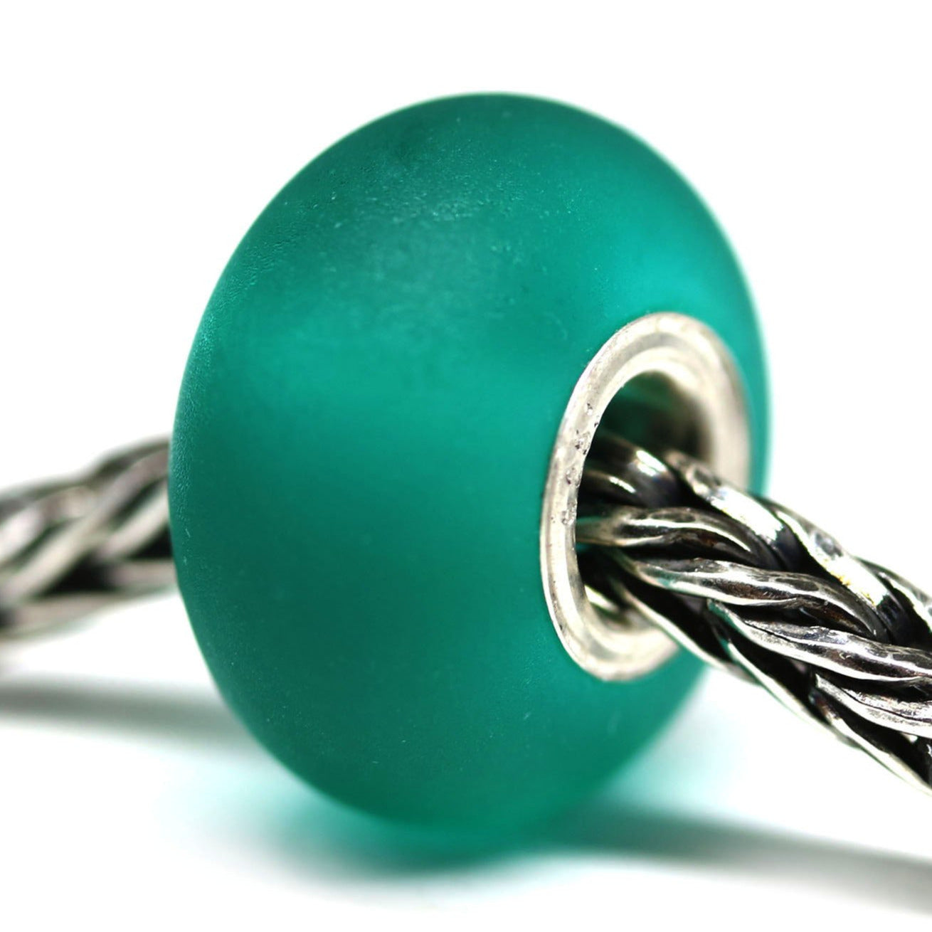 Seaglass lampwork teal European style bead for Troll Pandora style