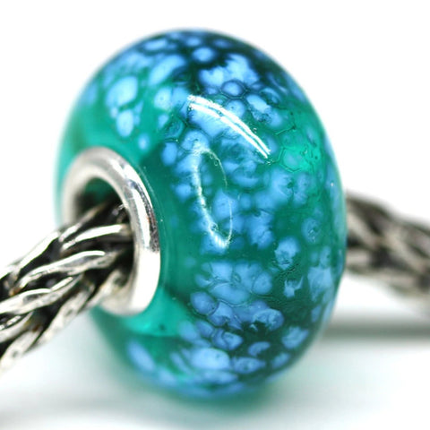 Teal green European bracelet charm pandora style beads Murano glass