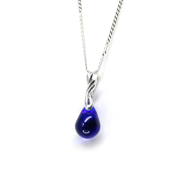 Cobalt blue drop glass pendant on sterling silver chain